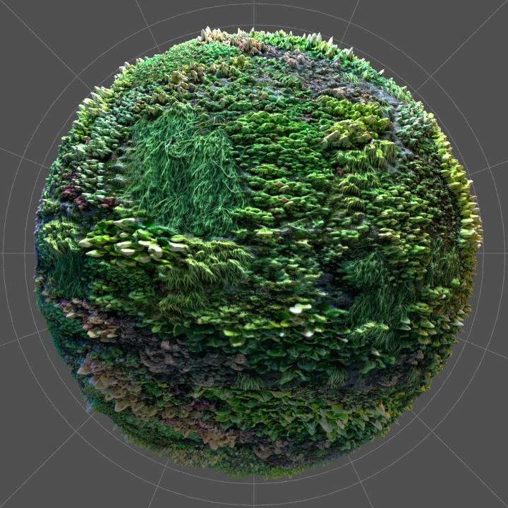 Vegetation texture in 4K, rendered in Cinema 4D and Corona.